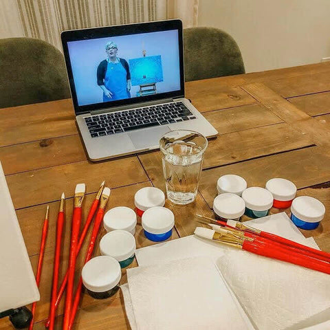 Painting Kit with Brushes and Paper Towel