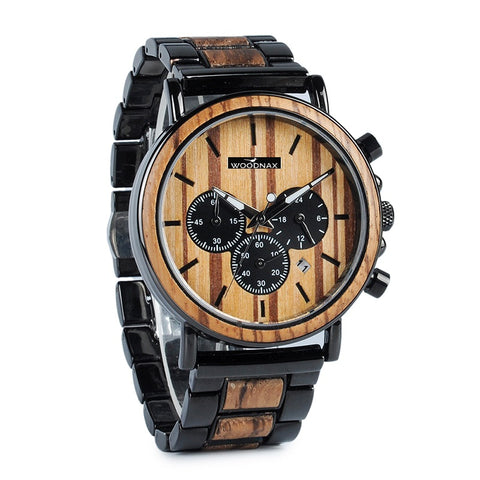 Wood & Stainless Steel Chronograph Military Quartz Watch