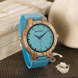 Adventurer Turquoise Bamboo Watch with Wooden Box