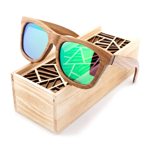 Nike Bamboo Sunglasses with Wooden Box Green Mirrored Lenses
