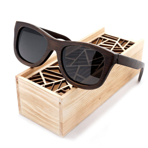 Bear Wooden Sunglasses with Wooden Box Black Lenses