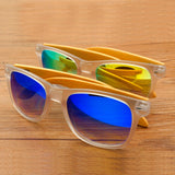Casper Mirrored Blue Bamboo Sunglasses with Wooden Box