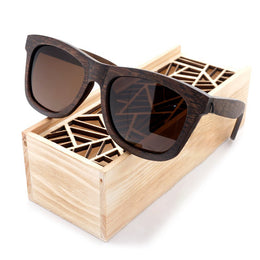 Dusty Wooden Sunglasses with Wooden Box Brown Lenses