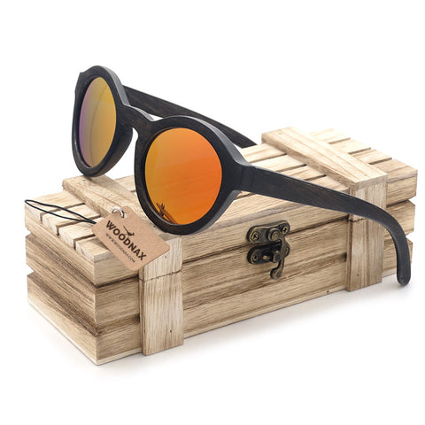 Fire Wooden Sunglasses with Wooden Box Orange Mirrored Lenses