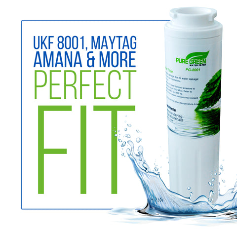 Pure Green Water Filter PG-8001 NSF Certified | Maytag UKF8001 Refrigerator Water Filter