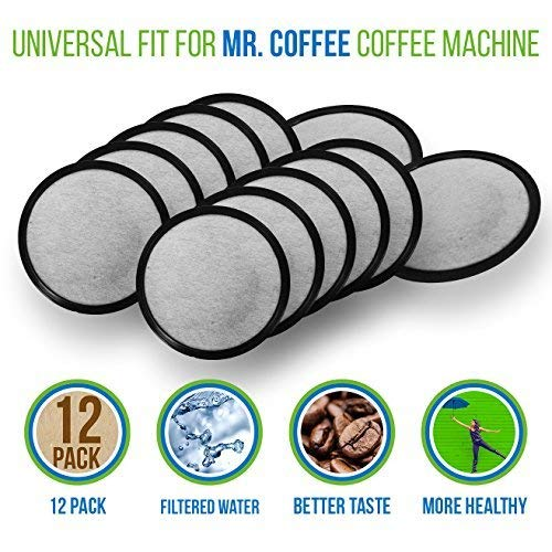 Mr. Coffee Water Filter Replacement Discs | Activated Charcoal Coffee Filters for Mr. Coffee Machines & Brewers | 12 Pack