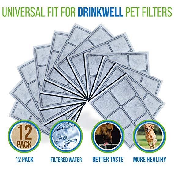 Premium Platium Charcoal Water Filter Replacement for Drinkwell Pet Fountain 12 pack DRK-12