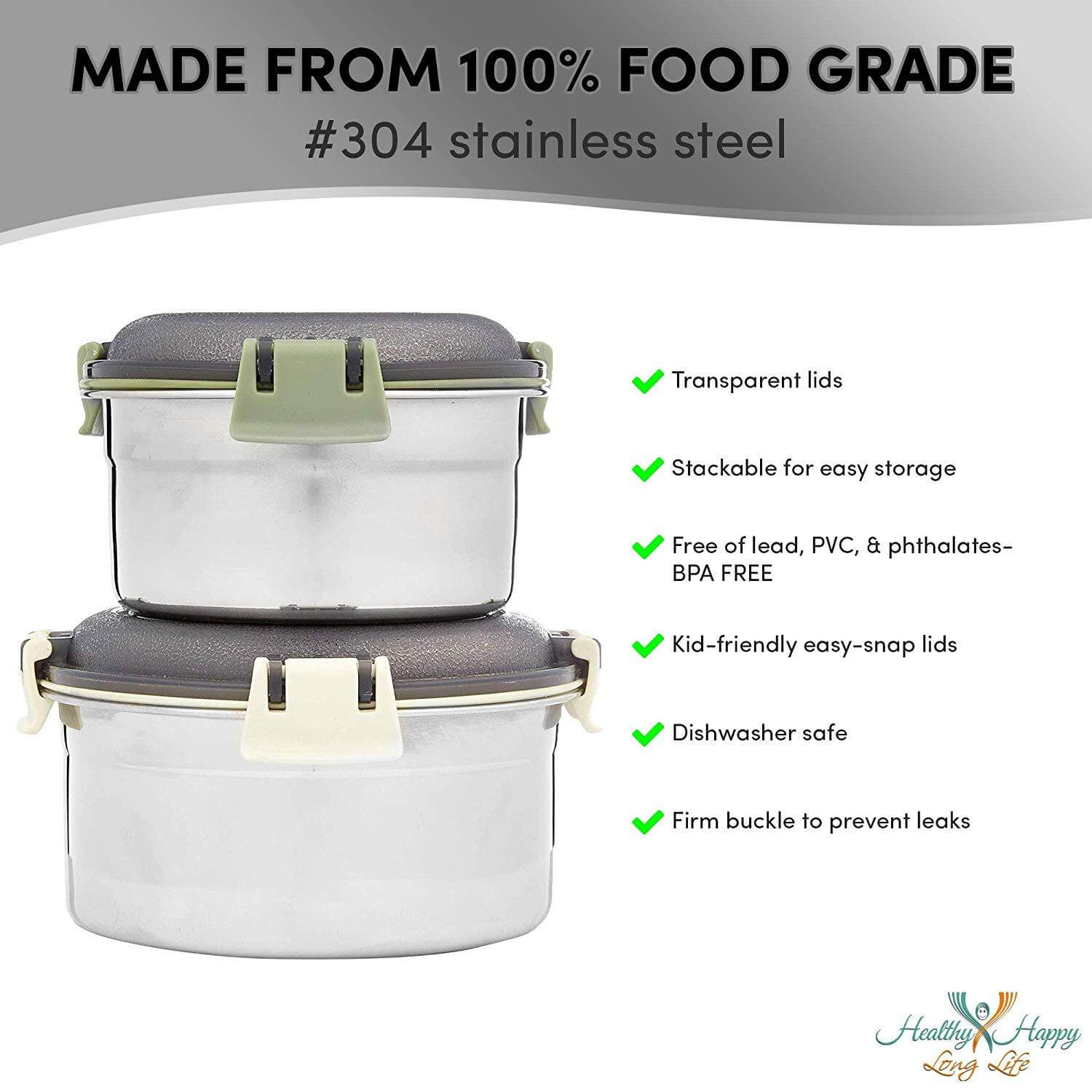 Healthy Happy Long Life Food Containers - 2-Pack Stainless Steel Storage Bowls with Clear Airtight Lids - Leak-Proof, Stackable Snapware Lunch or Snack Box for School, Camping, Travel - 12oz and 20oz