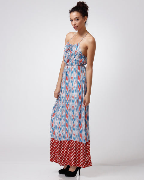 Dress - Strappy back Printed Maxi Rust/Blue