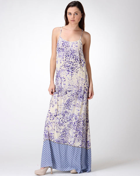 Dress - Strappy back Printed Maxi Purple