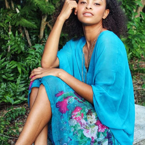 V-Neck Closed Kaftan - Teal Magic Island print