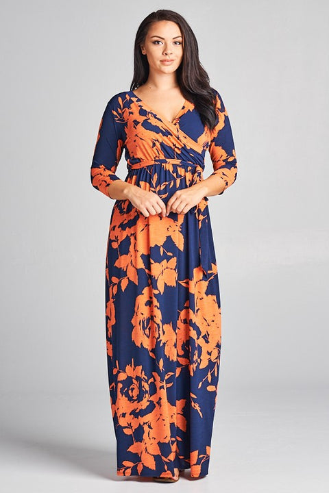 Dress - Floral Faux Wrap Dress (Full Figure)