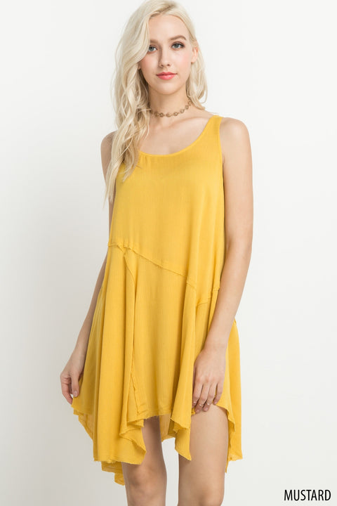 Dress - Handkerchief Hem Tunic Mustard