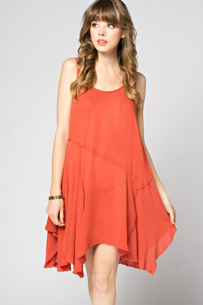 Dress - Handkerchief Hem Tunic Rust