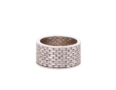 Ring: 18K White Gold Cigar Horizontal Eternity Band