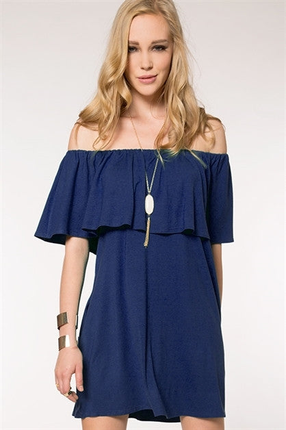 Dress - Short Ruffle Sleeve Tunic Dress