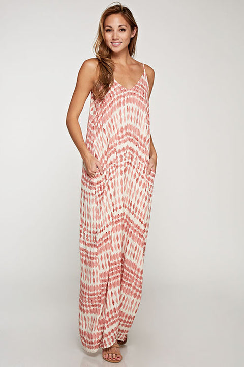 Cacoon Maxi Dress - Mauve Print