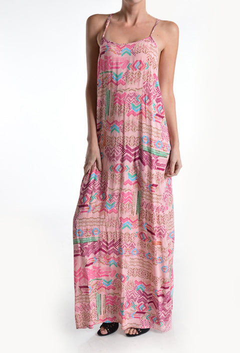 Dress - Strappy back Printed Multi Color Pinks