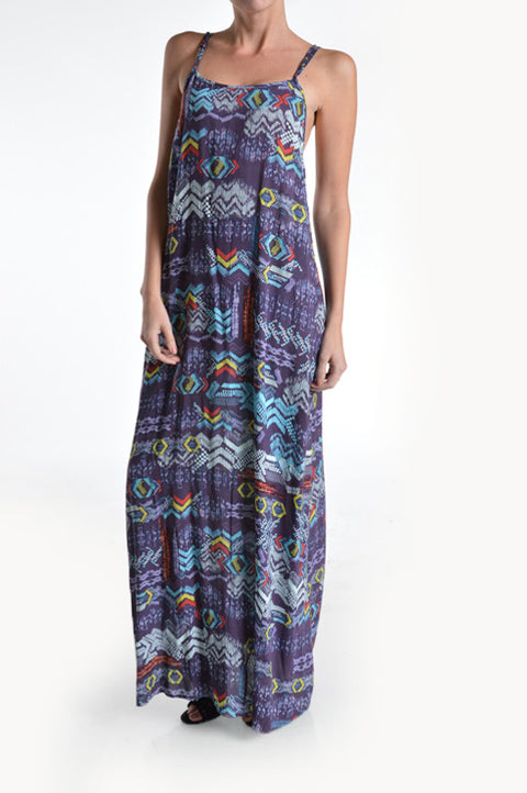 Dress - Strappy back Printed Multi Color Purples