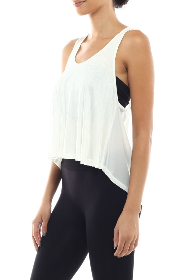 Racer back Crop Top Tank with Mesh detail