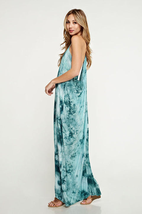 Draped Back Maxi Dress - Teal Tied Dyed