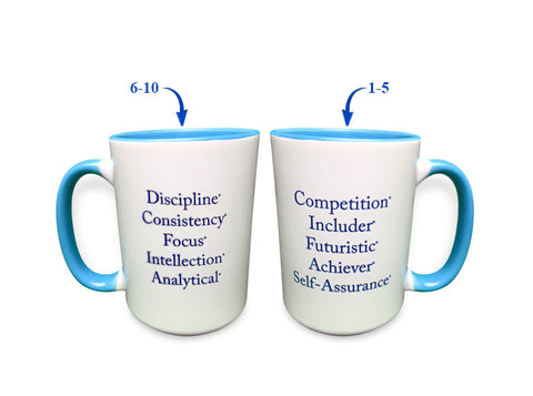"""Top 10"" Strengths Mug (Blue)"