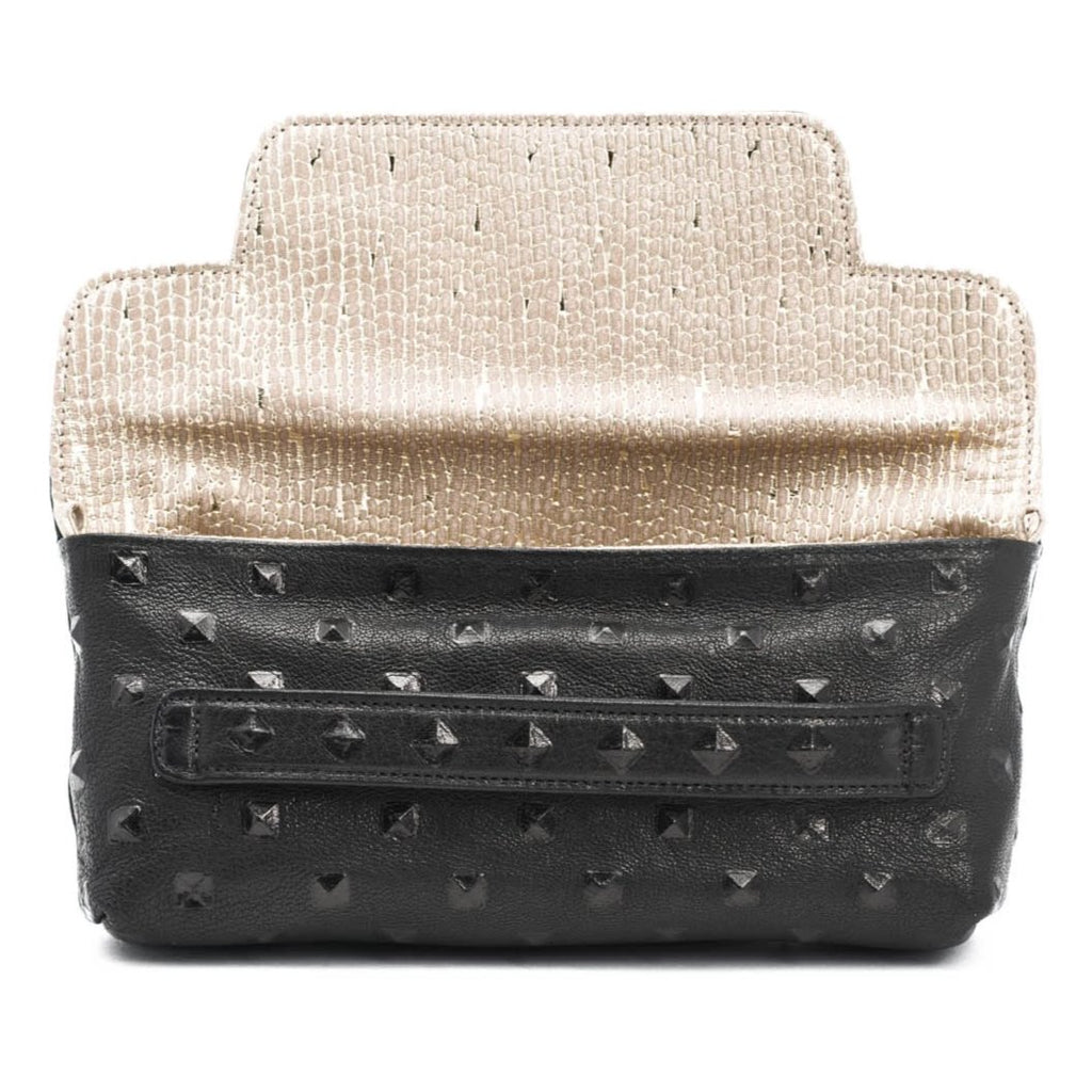 Founder's Clutch- Black Studded/ Gold