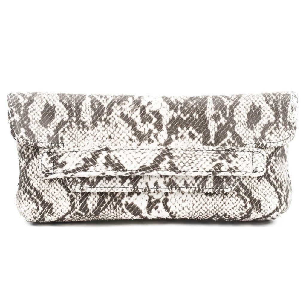 Founder's Reversible Clutch- Italian leather snakeskin/ black