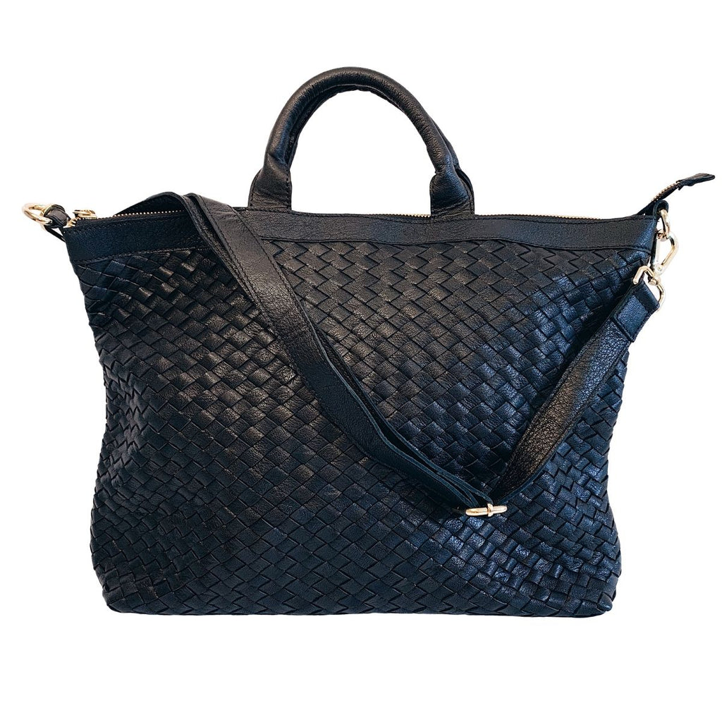 Woven Black Leather Satchel