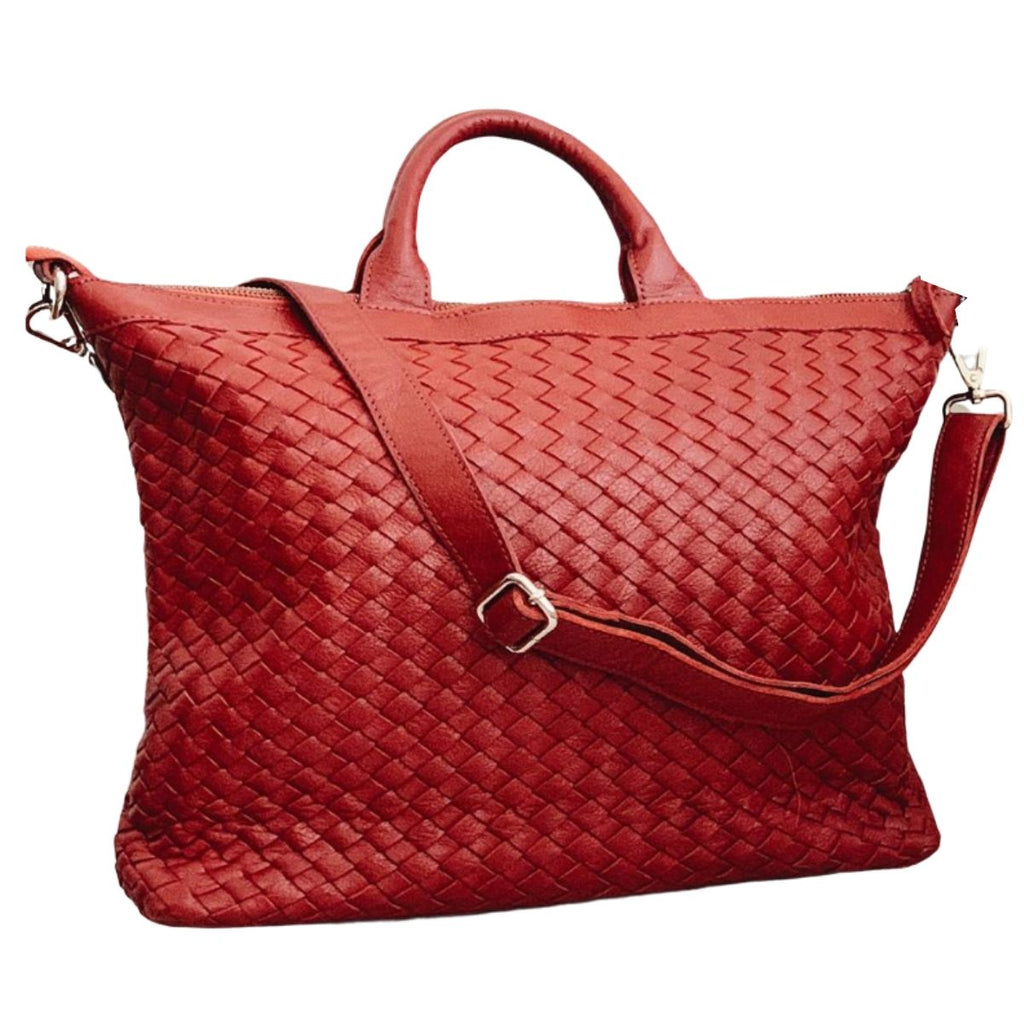 Woven Red Leather Satchel