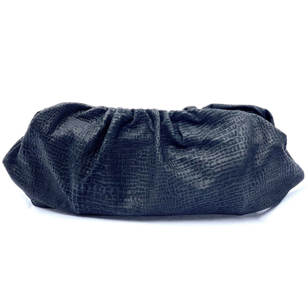 Black Sueded Snake Lambskin Pouch