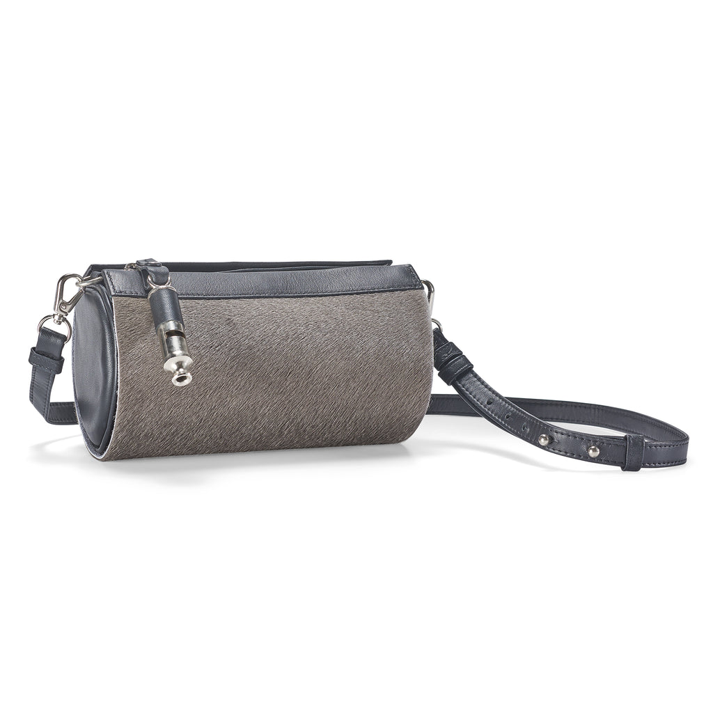 Gamechanger Barrel Gray Calfhair 5-In-1 Convertible Handbag