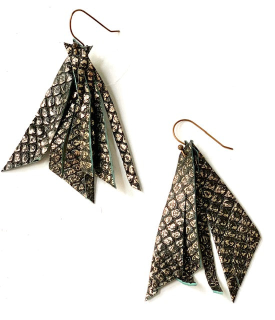 Metallic Snakeskin Feather Earring