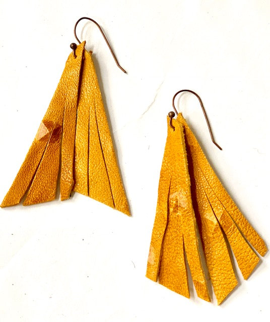 Mustard Stud Feather Earring