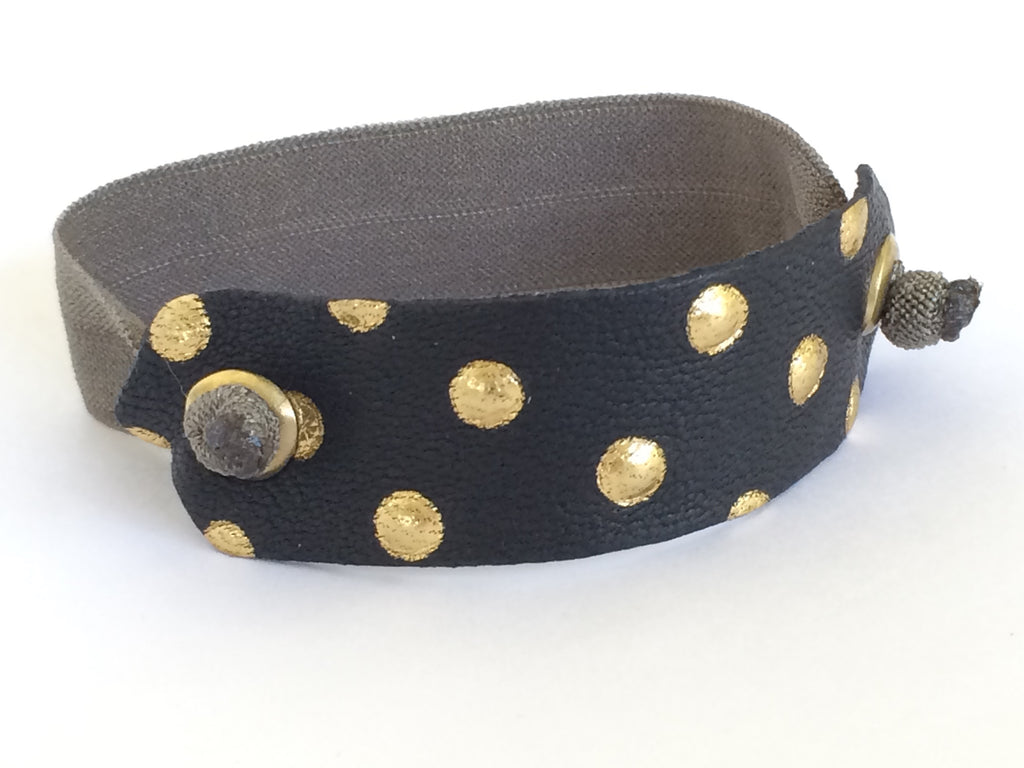 Pony Cuff - Black/Gold Dot