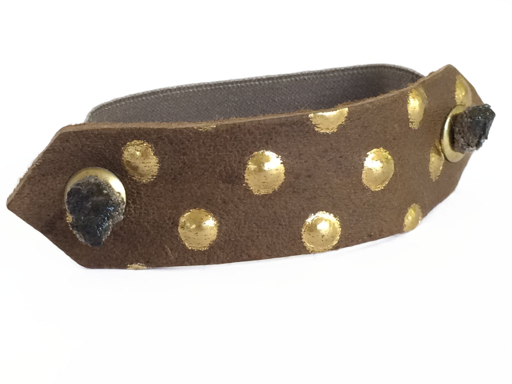 Pony Cuff - Brown/Gold Dot