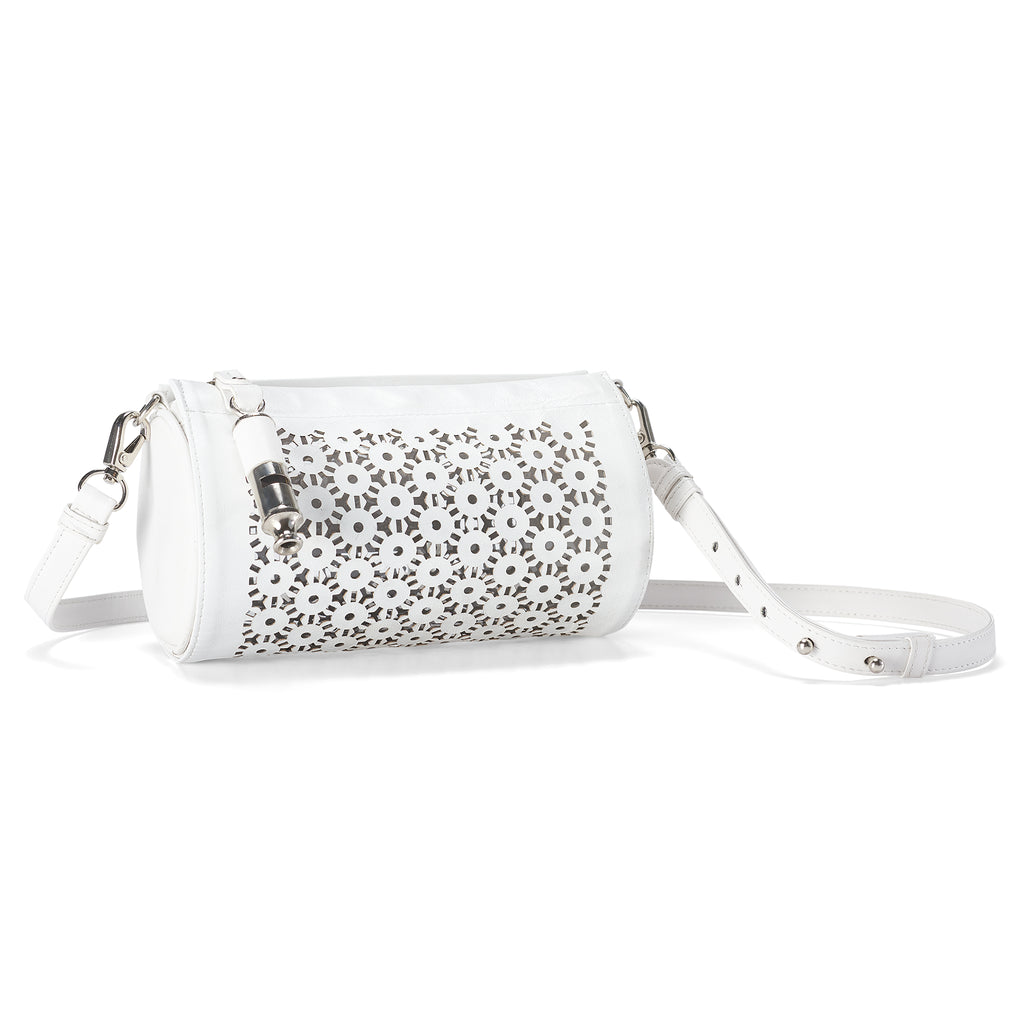 Gamechanger Barrel Laser White Lambskin 5-In-1 Convertible Handbag