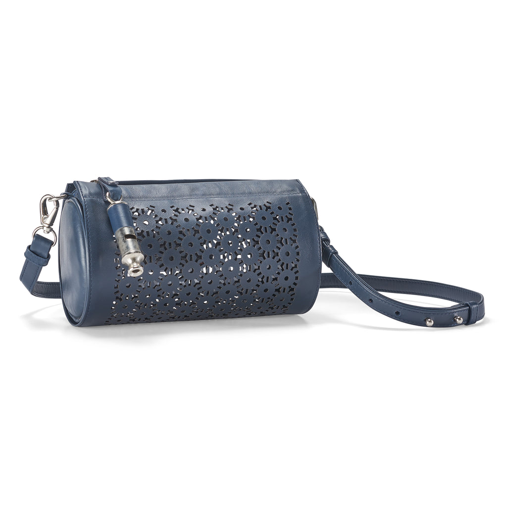 Gamechanger Barrel Laser Navy Lambskin 5-In-1 Handbag