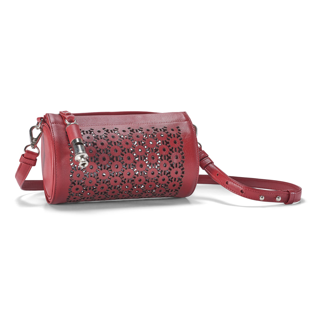 Gamechanger Barrel Laser Red Lambskin 5-In-1 Convertible Handbag