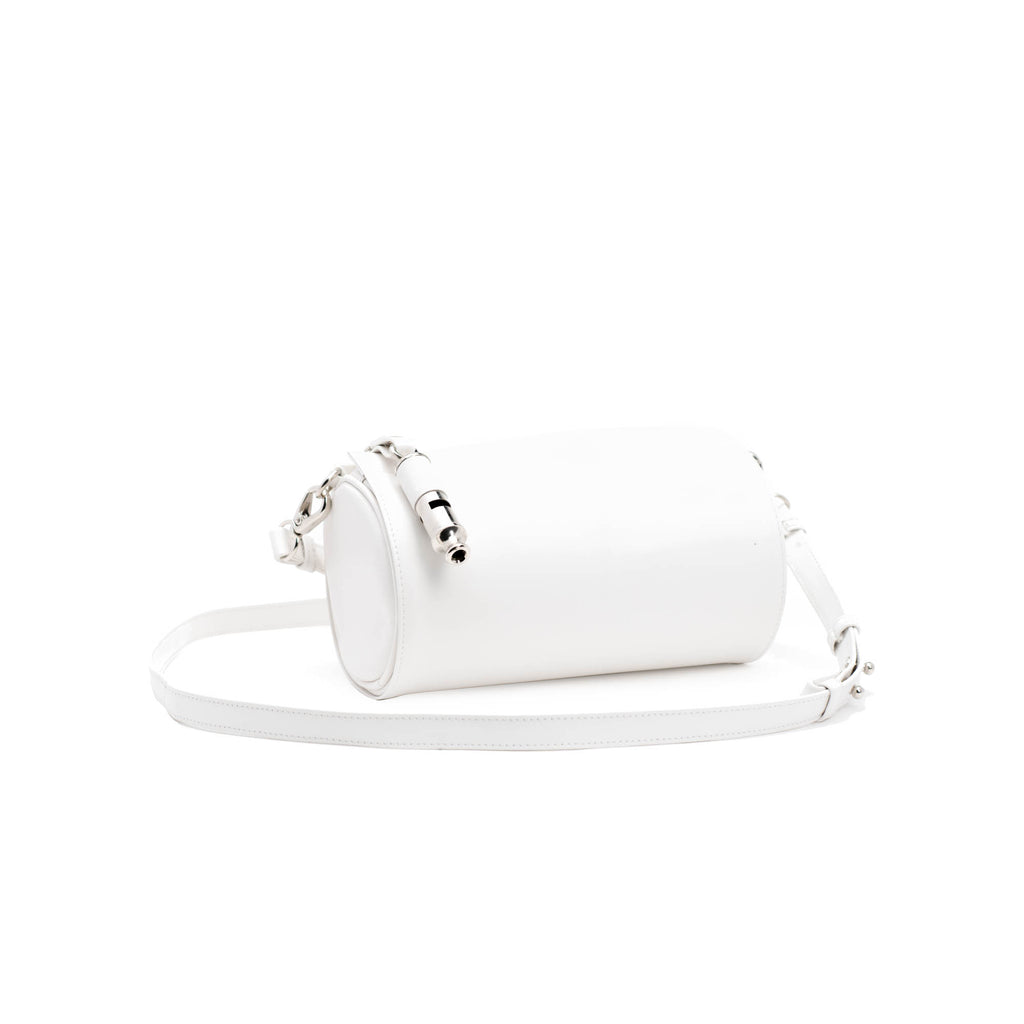 Gamechanger Barrel Solid White Lambskin 5-In-1 Convertible Handbag