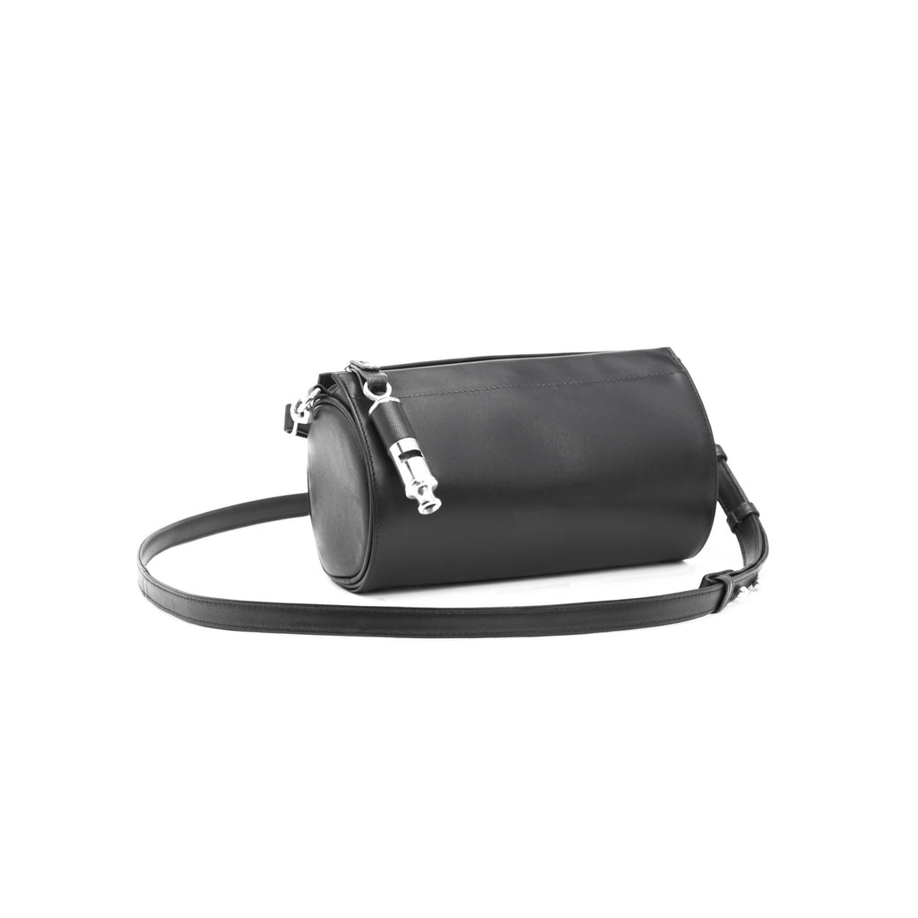 Gamechanger Barrel Solid Black Lambskin 5-In-1 Convertible Handbag