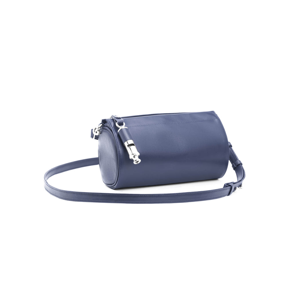 Gamechanger Barrel Solid Navy Lambskin 5-In-1 Convertible Handbag