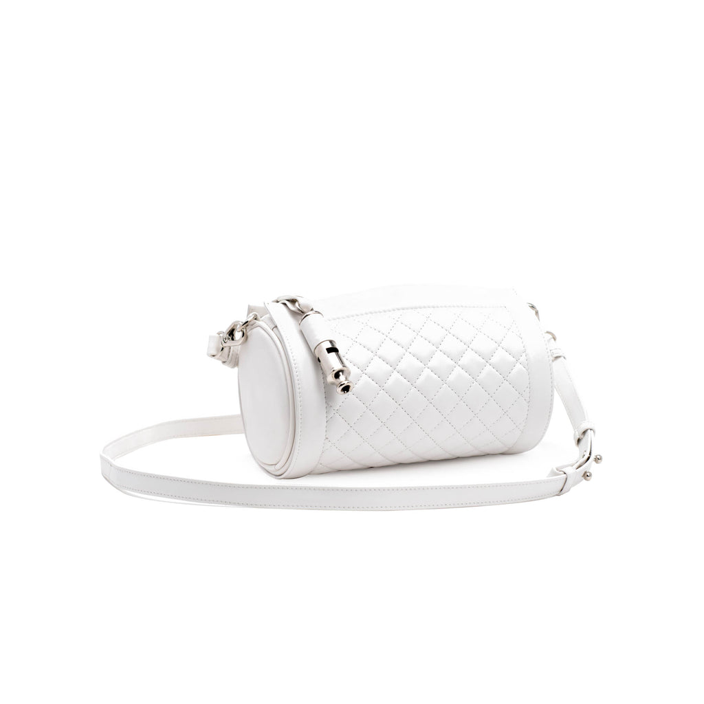 Gamechanger Barrel Quilted White Lambskin 5-In-1 Convertible Handbag
