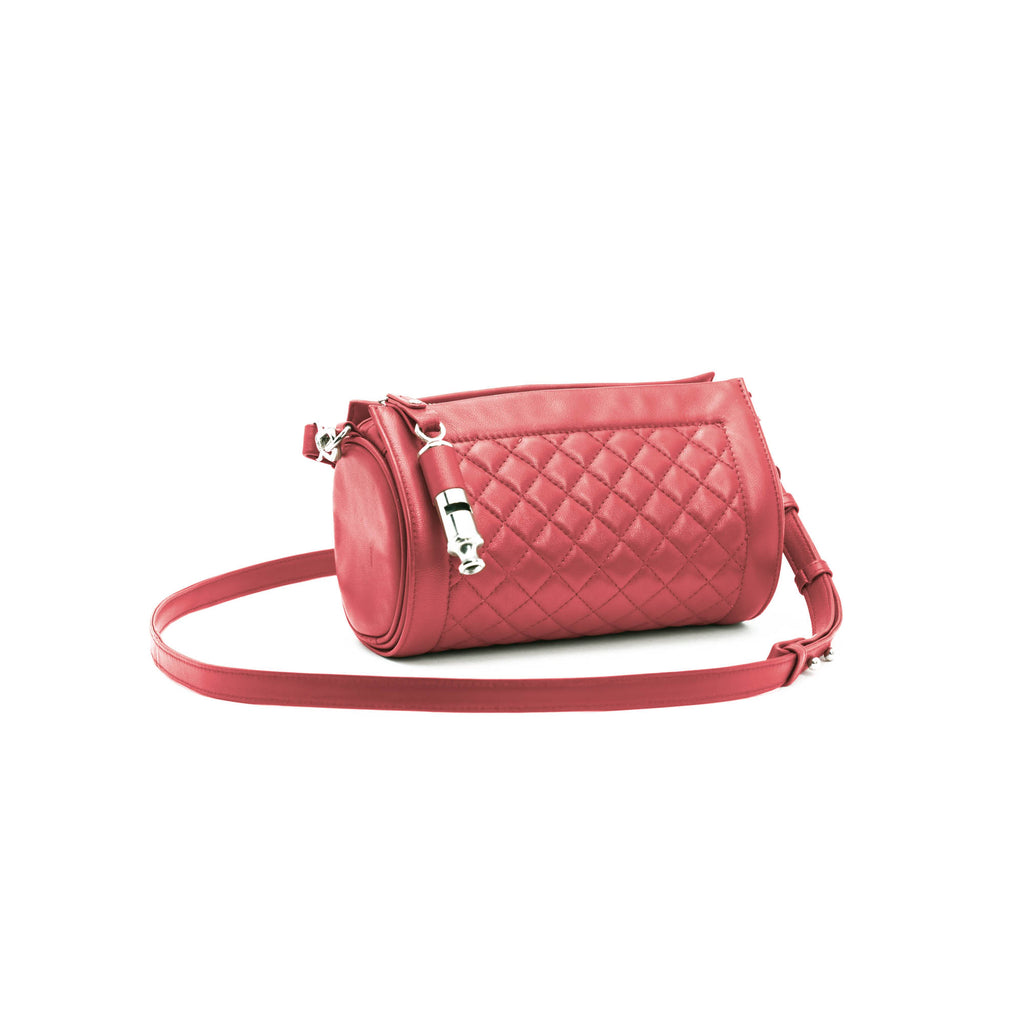 Gamechanger Barrel Quilted Red Lambskin 5-In-1 Convertible Handbag