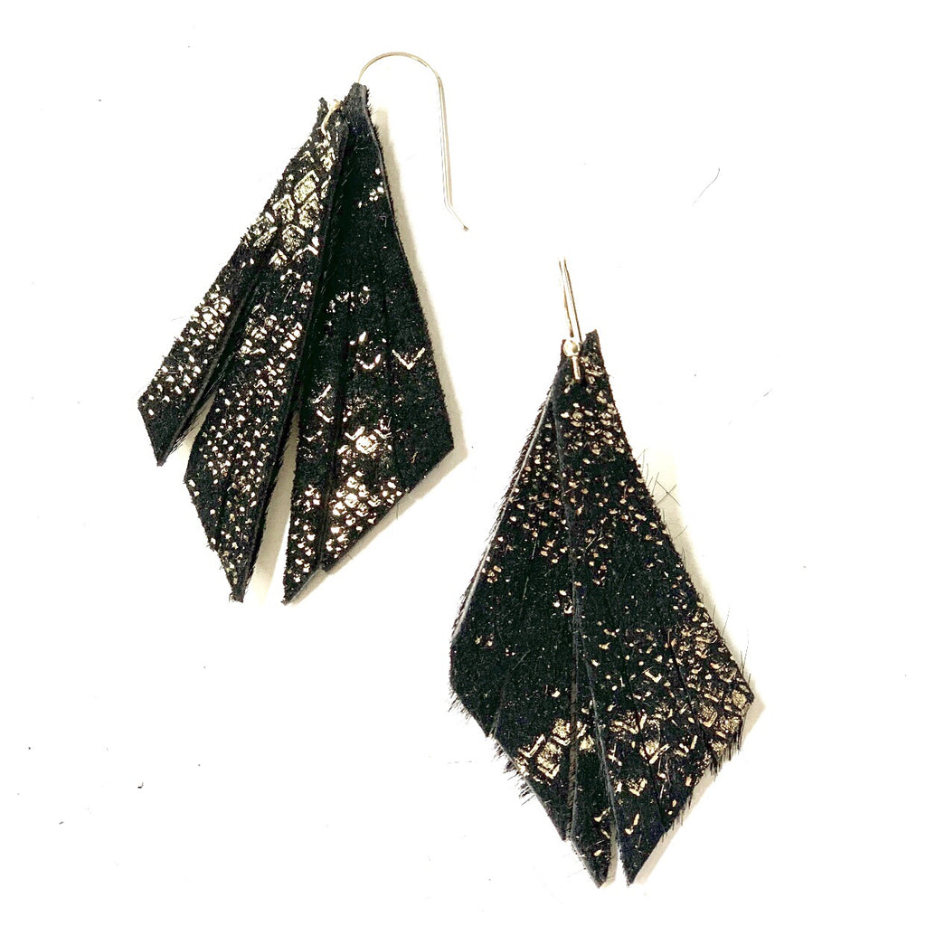 Black Metallic Feather Earring