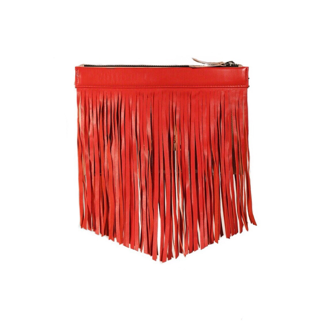Gamechanger Classic Fringe Red Lambskin 5-in-1 Convertible Crossbody