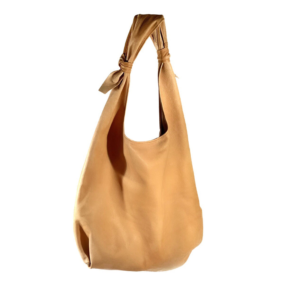 Double Knotted Satchel- Camel Italian Calfskin
