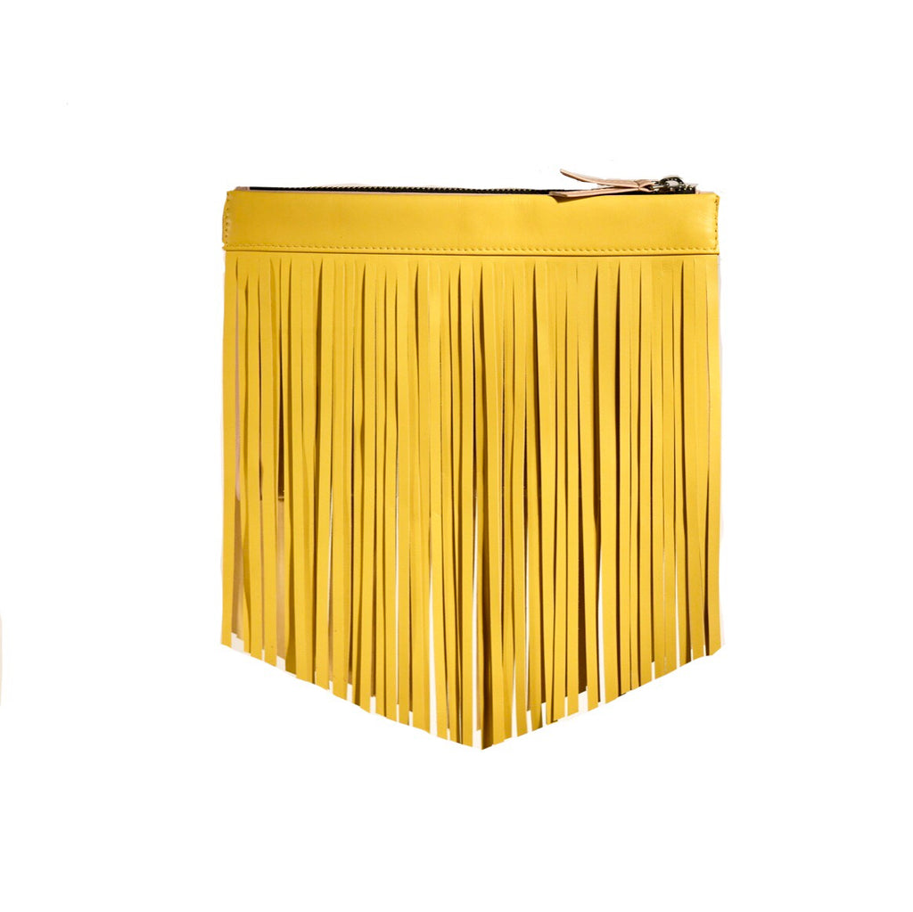 Gamechanger Classic Fringe Yellow Lambskin 5-in-1 Convertible Crossbody