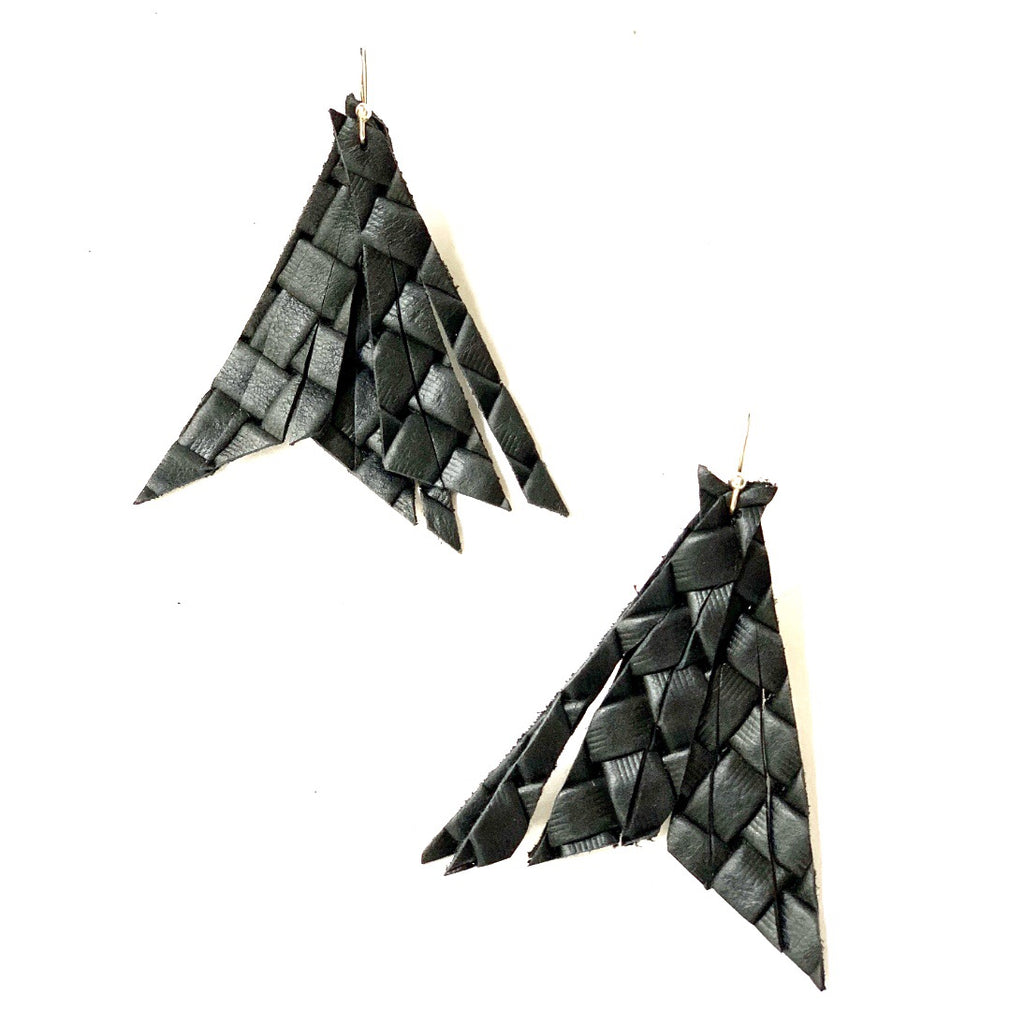 Black Basketweave Feather Earring