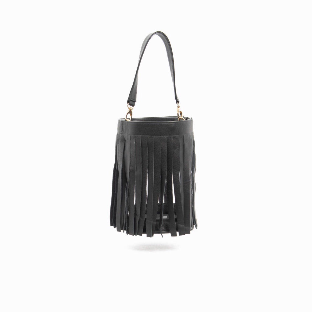Gamechanger Bucket- Fringe Black Lambskin